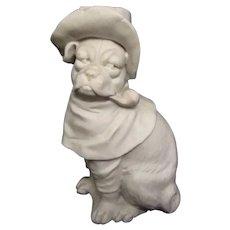 Antique Bisque Pug Dog Wearing Hat Smoking Pipe