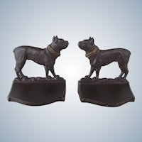 Bradley & Hubbard Cast Iron Boston Terrier Dog Bookends Antique