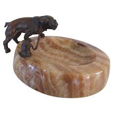 Antique Bronze On Marble Bulldog Dog Vanity Piece