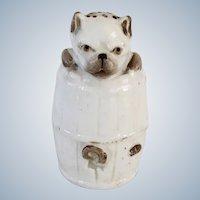 Antique Pug Dog In Barrel Pounce/Salt Shaker