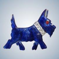 Vintage Blue Enamel & Rhinestone Scotty Dog Pin