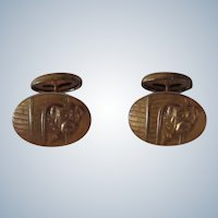 Antique Gold Filled Bulldog Dogs In Doghouse Cufflinks