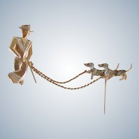 Deco Pin Gentleman With Dachshunds Chatelaine Vintage Silver 835