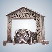 """Sterling Silver Brooch/Pin """"Brutus"""" Pug Dog Vintage"""
