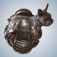 French Bulldog Business/Place Card Holder Silver Plated