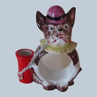 German Porcelain French Bulldog Dog Napkin Ring Toothpick Holder Vintage