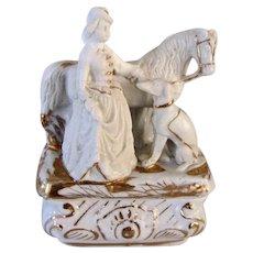 Antique 19th Century Fairing Box Lady, Horse, Greyhound Dog