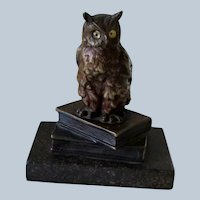 Antique Lost Wax Bronze Owl on Books Marble Base