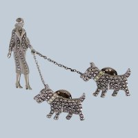 Vintage Deco Lady Walking Scotty Dogs Chatelaine Pin