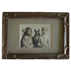 Framed Antique Photograph Boston Terrier Dog w/Children
