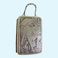 Rare Antique Chatelaine Coin/Card Purse w/Bulldog Dog Silver Plated