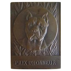 Signed Bronze  Medallion Pitt Bull Terrier Dog Antique