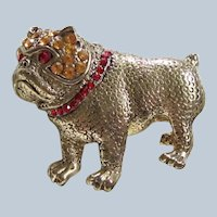 Rhinestone Goldtone Vintage Bulldog Dog Brooch/Pin