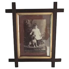 Exceptional Antique Framed Cabinet Photo Card Pug Dog w/Child