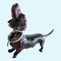 Rare Antique Mechanical 7 Inch Dachshund Dog Lighter Waldi Austria