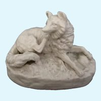 Victorian Bisque Fox Reclining On Base Antique