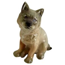 Handsome Porcelain Miniature Coyote Dog By Hutschenreuther