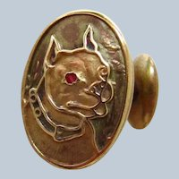 Antique Signed Gold Plated Boston Terrier Dog Cufflink