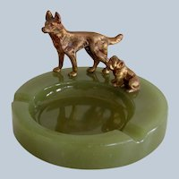 Solid Bronze German Shepherd and Bulldog Dogs Tray Vintage