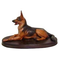"""Vintage Large 11"""" Anri German Shepherd Dog Signed Diller"""
