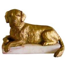 Antique Gold Gilt On Marble St. Bernard Dog Made In France