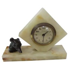 Marble Deco Clock With Whippet/Greyhound Dog Germany