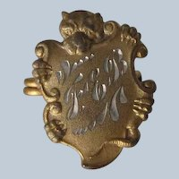 Victorian Dog Brooch Pin Bulldog/Boston Terrier C Clasp Antique