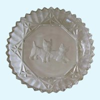 Vintage Intaglio Crystal Scotty Dogs Candy Dish