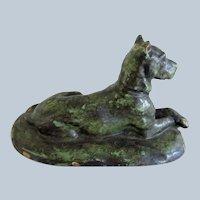 Solid Bronze Great Dane Dog Reclining Vintage