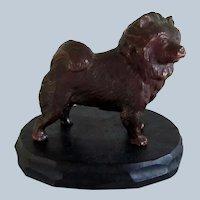 Solid Bronze Chow Dog On Wood Display Vintage