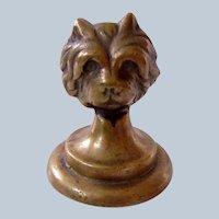 Bronze Cairn Terrier Dog Paperweight Vintage