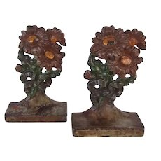 Rare Antique Hubley Cast Iron painted Flower Bookends Nursery Size