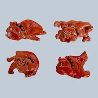 Set of Four Animated Bulldog Dog Brooch/Pins Vintage