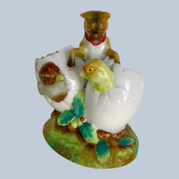 Antique Wonderful Pug Dog w/Chicks Spoon Holder