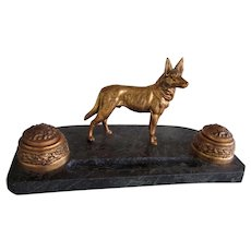 Antique German Shepherd Dog Double Inkwell w/Inserts