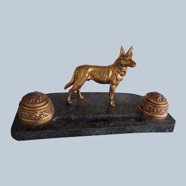 Antique German Shepherd Dog Double Inkwell w/Inserts