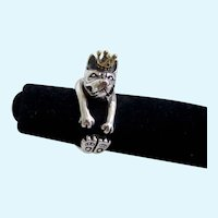 Solid Sterling Silver French Bulldog Ring w/Crown