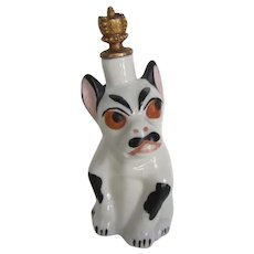 Extremely Rare Crown Top Perfume Bottle French Bulldog Dog Vintage