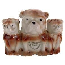 Vintage Condiment/Mustard Set Of Figural Bulldogs/Pug Dogs