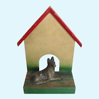 Rare Vintage German Shepherd Dog Cast Iron Paperweight On Doghouse