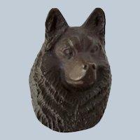 Solid Bronze Husky Dog Paperweight Vintage