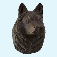 Solid Bronze Husky Dog Paperweight Vintage