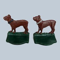 Vintage Pair Boston Terrier Dog Bookends Possible Salesman's Samples