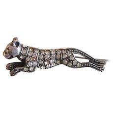 Sterling Silver Big Cat Cougar/Panther Pin Rhinestone Paste Vintage