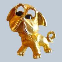 Sweet Vintage Goldtone Pug Dog Pin
