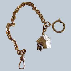 Vintage Watch Chain With Pug In Doghouse Fob