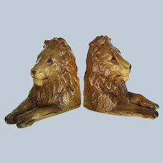 Gorgeous Rare Pair Male Lion Mortens Studio Bookends Labeled