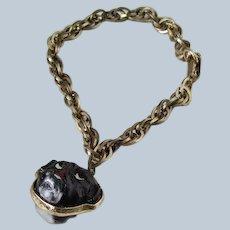 Vintage Black Glass Cabochon Pug/Bulldog Dog Two Sided Bracelet
