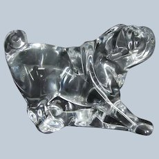 Beautiful Crystal Art Glass Baccarat France Pug Dog Vintage