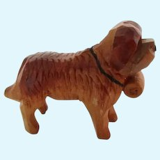 Miniature Wood Carved St. Bernard Dog Vintage